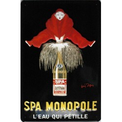 Plaque métal publicitaire 20x30cm bombée en relief : SPA MONOPOLE.