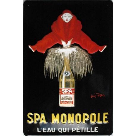 Plaque métal publicitaire 20x30cm bombée en relief : SPA MONOPOLE