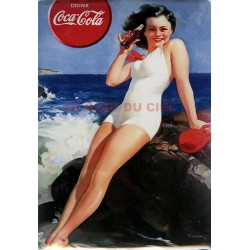 Plaque métal publicitaire 30x40cm plate : Pin up Coca Cola.