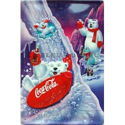Plaque métal publicitaire 20x30 cm bombée en relief  : Play Refreshed Coca Cola