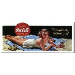 Plaque métal  publicitaire 21x45cm plate :  Pin up coca cola