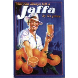 Plaque métal publicitaire 20x30cm bombée en relief : Jus de fruits orange JAFA.
