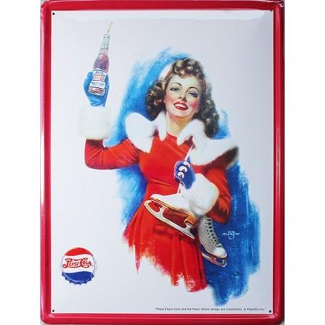 Plaque métal publicitaire30x40cm plate : Pepsi-Cola