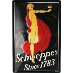 Plaque métal publicitaire 20x30cm bombée en relief :   Schweppes Since 1783
