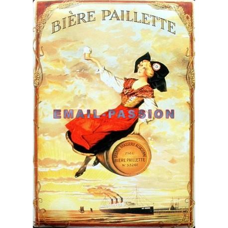 Plaque métal publicitaire 15x21cm bombée : Bière Paillette.