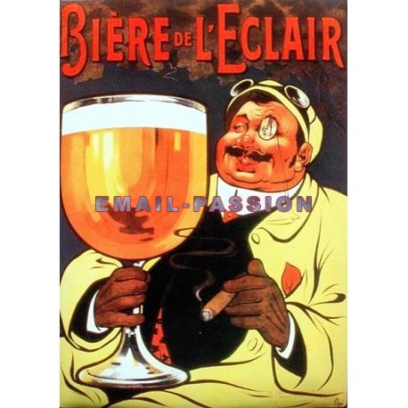 Plaque métal publicitaire 15x21cm bombée : Bière de l'Eclair.