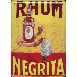 Plaque métal publicitaire 15x21cm bombée : Rhum Négrita