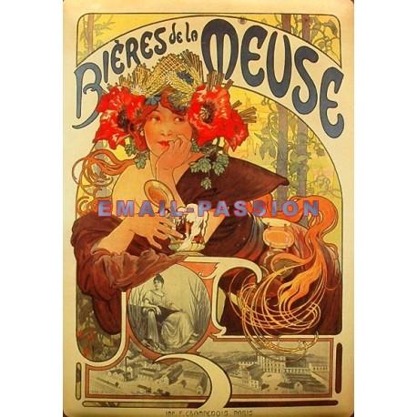 Plaque métal publicitaire 15x20cm plate : Bière de la Meuse