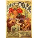 Plaque métal publicitaire 15x21cm bombée : Bière de la Meuse.