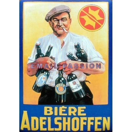 Plaque métal publicitaire 15x21cm plate : Bière Adelshoffen.