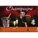 Plaque métal publicitaire 15x21cm bombée : Champagne Betty Boop.