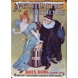 Plaque métal publicitaire 15x21cm bombée : Absinte Parisienne