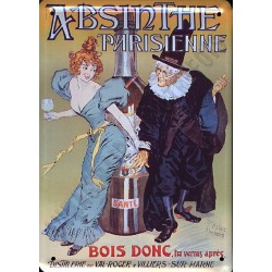 Plaque métal publicitaire 15x21cm plate : Absinte Parisienne.