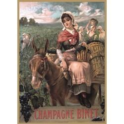 Plaque métal publicitaire 15x21cm bombée : Champagne Binet.