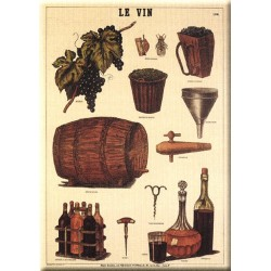 Plaque métal publicitaire bombée 15x21cm : Le Vin.