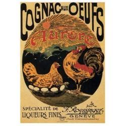Plaque métal publicitaire 15x21cm bombée : Cognac aux oeuf Aurore.