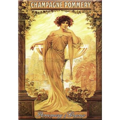Plaque métal publicitaire 15x21cm bombée : Champagne Pommery.