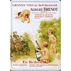 Plaque métal publicitaire 15x21cm bombée : Vins Albert Brenot