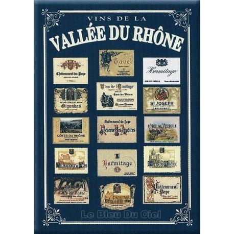 Plaque métal publicitaire 15x21cm bombée : Vins de la Vallée du Rhône.