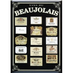 Plaque métal publicitaire 15x21cm bombée : Vins du Beaujolais