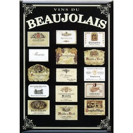 Plaque métal publicitaire 15x21cm bombée : Vins du Beaujolais.
