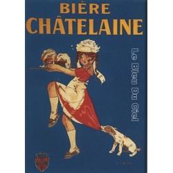 Plaque métal publicitaire 15x21cm bombée : Bière Chatelaine.