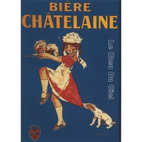Plaque métal publicitaire 15x20cm plate : Bière Chatelaine
