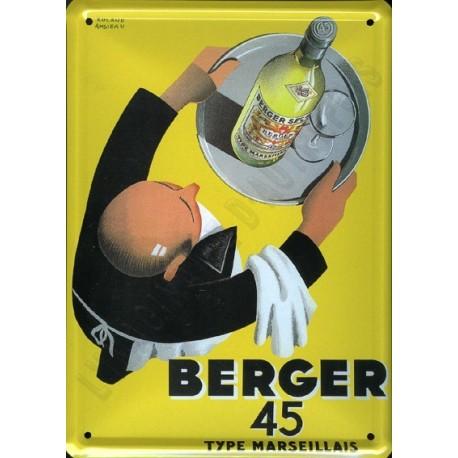 Plaque métal publicitaire 15x21cm bombée : Pastis Berger 45.