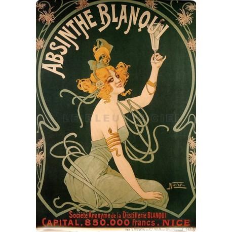 Plaque métal publicitaire 15x21cm bombée : Absinthe Blanqui.