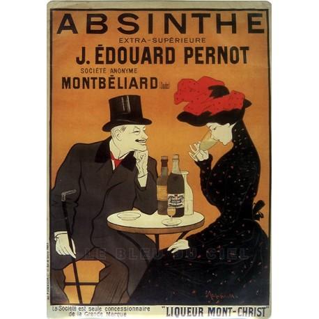 Plaque métal publicitaire 15x21cm bombée : Absinthe J.Édouard Pernot