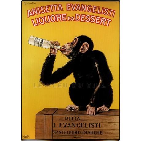Plaque métal publicitaire 15x21cm bombée : Liqueur Anisetta Evengelisti.