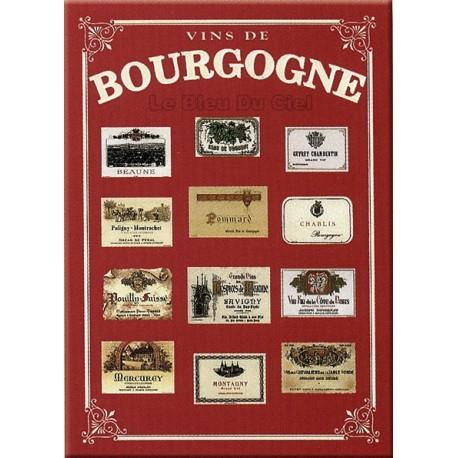 Plaque métal publicitaire 15x20cm plate : Vins de Bourgogne.
