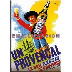 Plaque métal publicitaire 15x21cm bombée : Pastis Un Provencal.