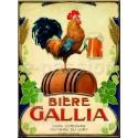 Plaque métal publicitaire 15x21cm bombée : Bière Gallia