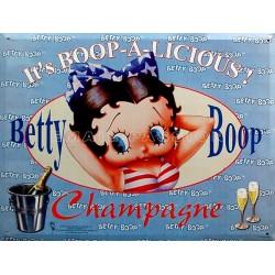 Plaque métal publicitaire 15x21cm bombée : Betty Boop Champagne bleue