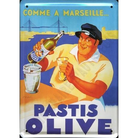Plaque métal publicitaire 15x21cm bombée : Pastis Olive.