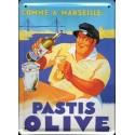 Plaque métal publicitaire 15x21cm plate : Pastis Olive.