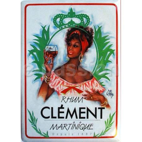Plaque métal publicitaire 15x21cm bombée : Rhum Clément