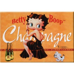 Plaque métal publicitaire 15x21cm bombée : Champagne Betty Boop orange.