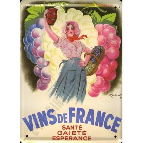 Plaque métal publicitaire 15x21cm plate : Vins de France