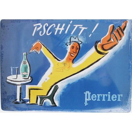 """Plaque métal publicitaire 15x21cm bombée : Perrier """"Pschitt !""""."""