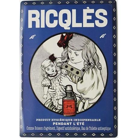 Plaque métal publicitaire 15x21cm bombée : Ricqlès menthe