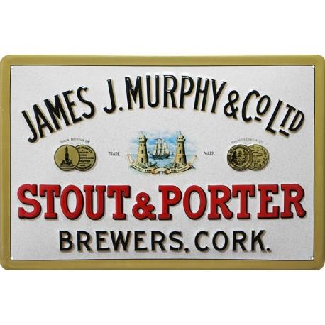 Plaque métal publicitaire 20x30 cm bombée en relief :  JAMES J.MURPHY LTD.