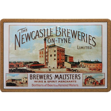 Plaque métal publicitaire 20x30 cm bombée en relief :  THE NEWCASTLE BREWERIES.