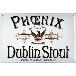 Plaque métal publicitaire 20x30cm cm bombée en relief : Phoenix Dublin Stout