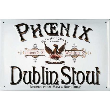 Plaque métal publicitaire 20x30cm cm bombée en relief : Phoenix Dublin Stout.