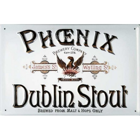 Votre Décoration Bar : cette plaque publicitaire 20x30cm cm bombée en relief Phoenix Dublin Stout