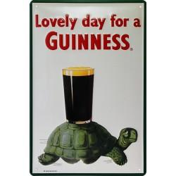 Plaque métal publicitaire 20x30 cm bombée en relief : Guinness Tortue