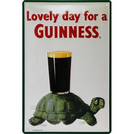 Plaque métal publicitaire 20x30cm cm bombée en relief : Guinness Tortue