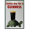 Plaque métal publicitaire 20x30cm cm bombée en relief : Guinness Tortue.